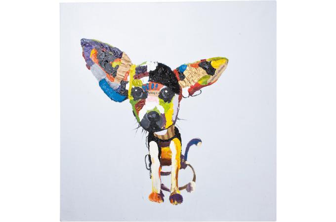 tableau multicolore peinture l 39 huile dog tableau animaux pas cher. Black Bedroom Furniture Sets. Home Design Ideas