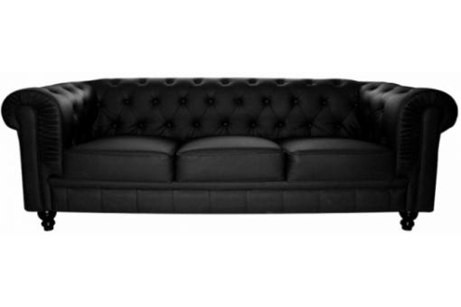 Canapé Chesterfield cuir 3 places noir James