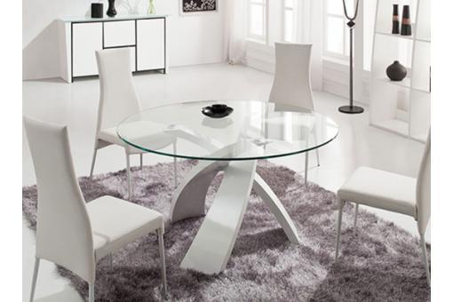 Table en verre ronde versailles blanc table d 39 appoint - Table ronde en verre pas cher ...