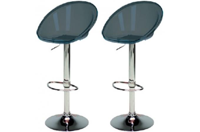 lot de 2 tabourets de bar gris anthracites transparents roxy tabouret de bar pas cher. Black Bedroom Furniture Sets. Home Design Ideas