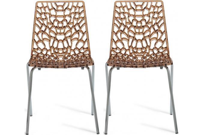 lot de 2 chaises chocolat transparentes traviata chaise design pas cher. Black Bedroom Furniture Sets. Home Design Ideas