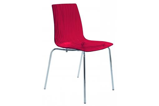 Chaise Design Transparente Rouge OLYMPIE