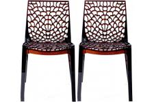 Lot de 2 chaises design transparentes marron GRUYER TRANSPARENT - Chaise marron design