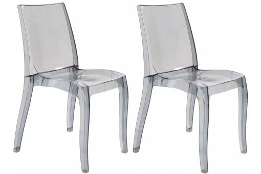 Lot de 2 chaises design transparentes grises ATHENES