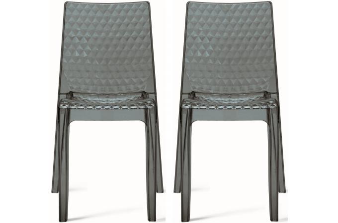 lot de 2 chaises design transparentes grises delphes chaise design pas cher. Black Bedroom Furniture Sets. Home Design Ideas