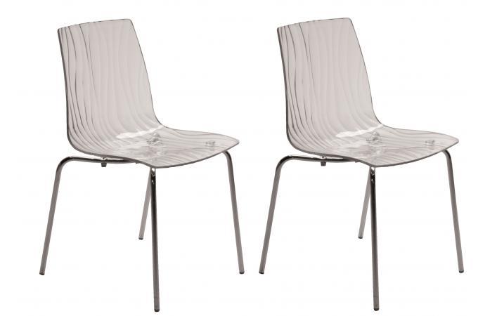 Lot de 2 chaises design transparentes olympie chaise design pas cher - Chaises transparentes design ...