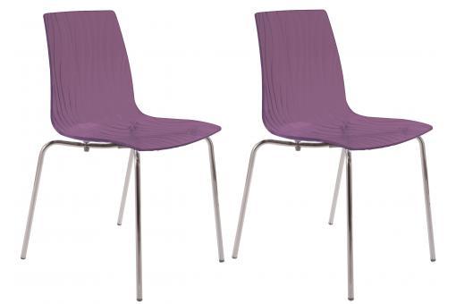lot de 2 chaises design transparentes violettes olympie chaise design pas cher. Black Bedroom Furniture Sets. Home Design Ideas