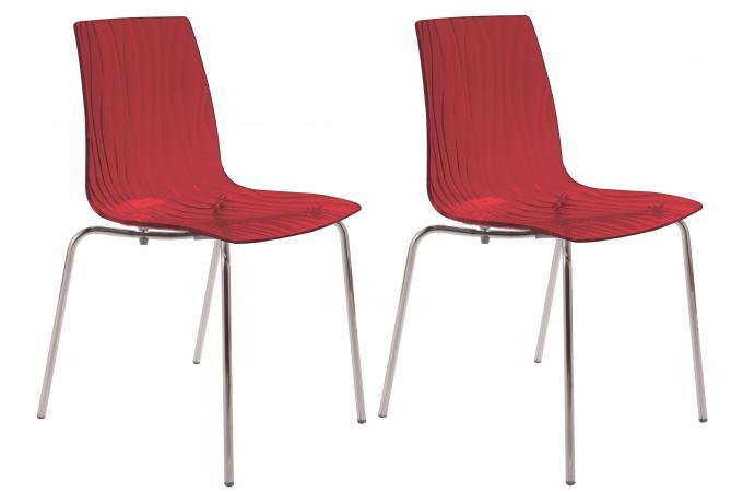 lot de 2 chaises design transparentes rouges olympie chaise design pas cher. Black Bedroom Furniture Sets. Home Design Ideas