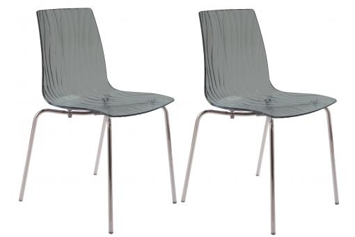 Lot de 2 Chaises Design Transparentes Grises OLYMPIE