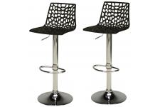 Lot de 2 tabourets de bar design noirs SPARTE - Tabouret de bar noir design