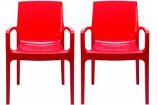 Lot de 2 chaises design rouges GENES - Chaise avec accoudoir