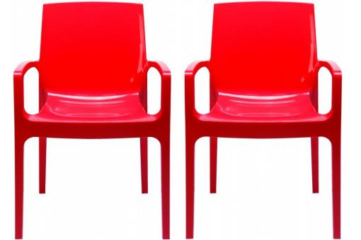 Lot de 2 Chaises Design Rouges GENES