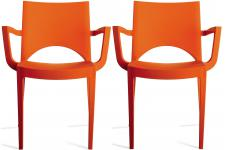 Lot de 2 chaises design orange PALERMO - Chaise orange design