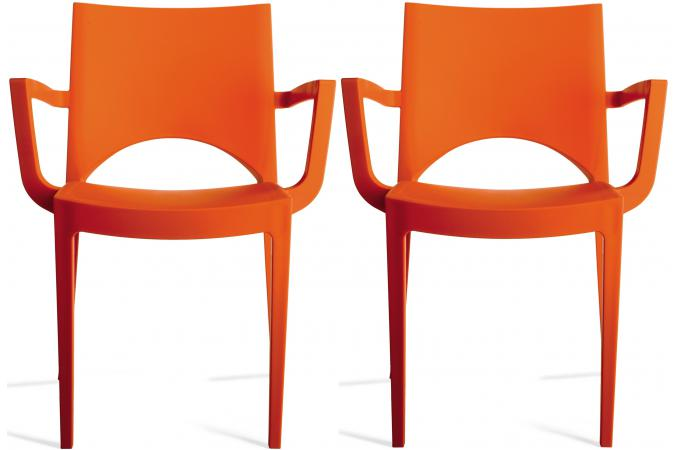 lot de 2 chaises design oranges palermo chaise design pas cher. Black Bedroom Furniture Sets. Home Design Ideas