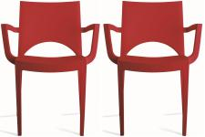 Lot de 2 chaises design rouges PALERMO - Chaise avec accoudoir