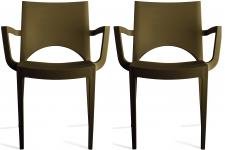 Lot de 2 chaises design marron PALERMO - Chaise verte