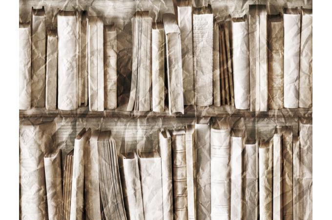 Papier peint trompe l 39 oeil biblioth que effet froiss beige papier pein - Papier peint imitation bibliotheque ...