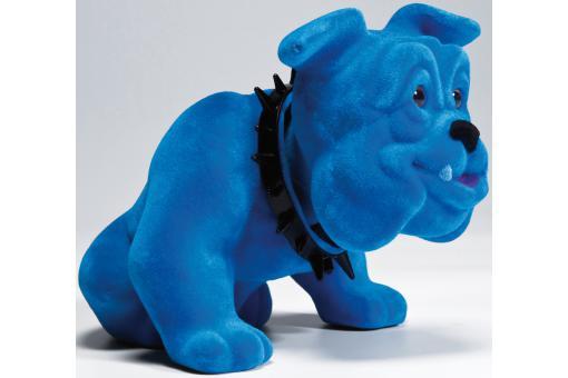 figurine chien bouledogue assis bleu statue design pas cher. Black Bedroom Furniture Sets. Home Design Ideas