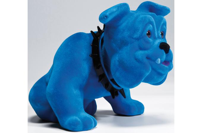 figurine chien bouledogue assis bleu statue design pas cher. Black Bedroom Furniture Sets. Home Design Ideas