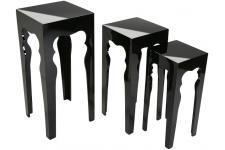 Table d'Appoint Lot de 3 tables noires design en bois, deco design