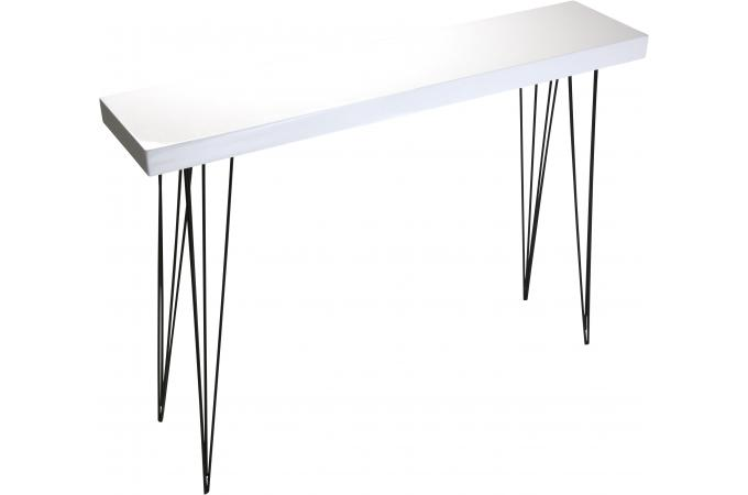 table d 39 entr e blanche en bois et m tal vigoth table console pas cher. Black Bedroom Furniture Sets. Home Design Ideas