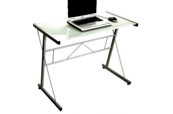 Table d 39 ordinateur blanche en verre geminy bureau pas cher - Table ordinateur verre ...