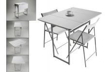 Table pliante et 2 chaises blanches en bois Kingston - Table a manger blanche