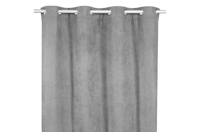 rideau oeillets gris en velours am lie rideaux pas cher. Black Bedroom Furniture Sets. Home Design Ideas