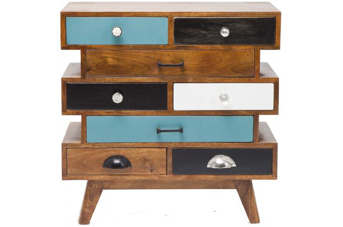 commode multicolore en bois 8 tiroirs commode pas cher. Black Bedroom Furniture Sets. Home Design Ideas