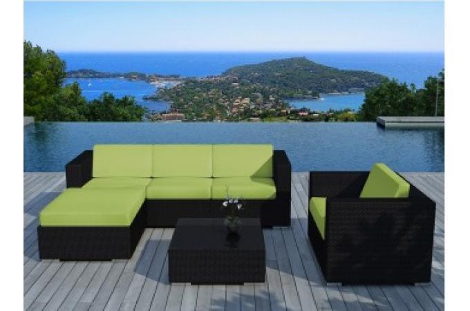 Salon de jardin en r sine tress e noir et vert lagon for Salon de jardin en resine tressee noir pas cher