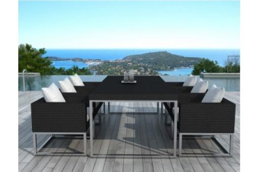 Table design outdoor + 6 fauteuils noir et blanc VELUX