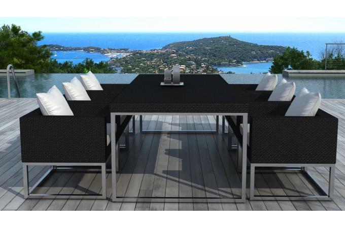Table design outdoor + 6 fauteuils noir et blanc VELUX Plus d\'infos
