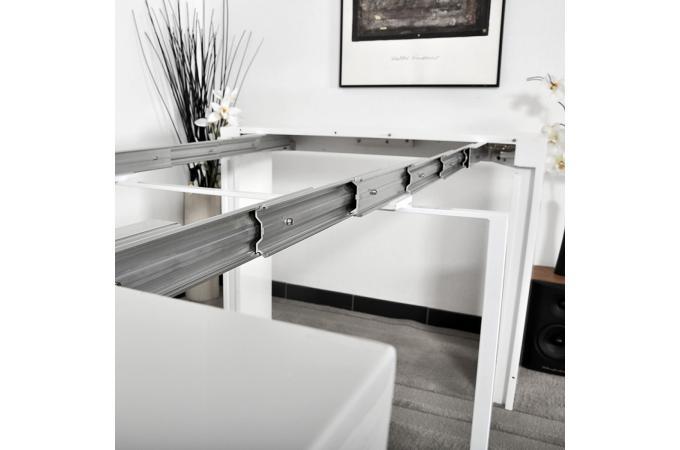 Table console blanche laqu e 3 rallonges carla table console pas cher - Table blanche laquee pas cher ...
