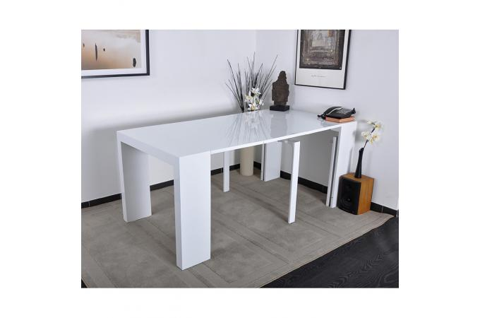 Table console laqu e blanche 4 rallonges carla xl table console pas cher - Console laquee blanche ...