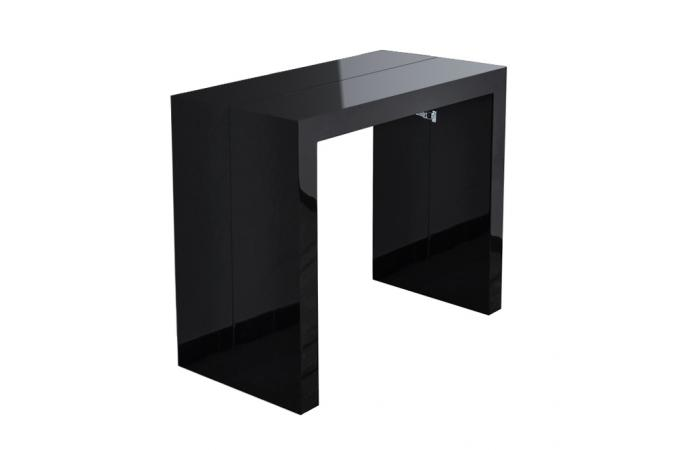 Table console noire laqu e 3 rallonges carla table for Table rallonge noire