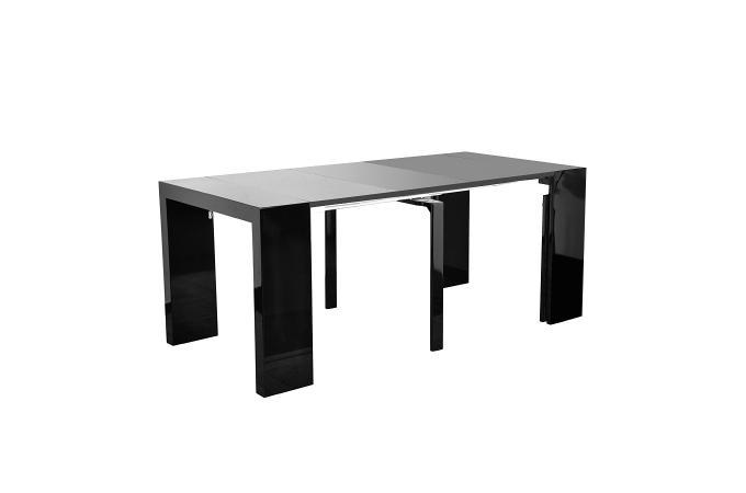 table console noire laqu e 3 rallonges carla table. Black Bedroom Furniture Sets. Home Design Ideas