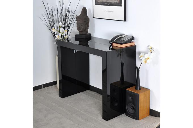 console laquee noire maison design. Black Bedroom Furniture Sets. Home Design Ideas