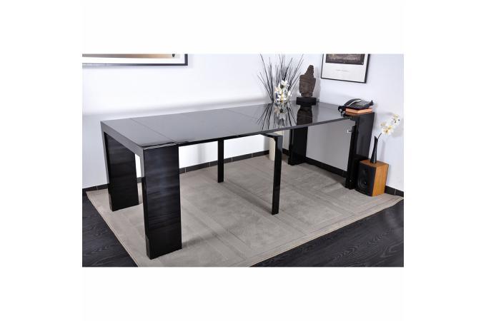 table console laqu e noire 4 rallonges carla xl table console pas cher. Black Bedroom Furniture Sets. Home Design Ideas