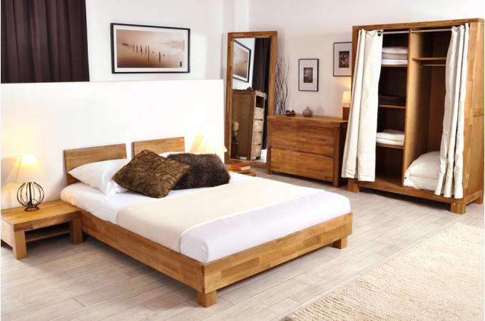 Lit 140x190 2 t tes de lit en ch ne massif india lit design pas cher - Tete de lit en chene massif ...