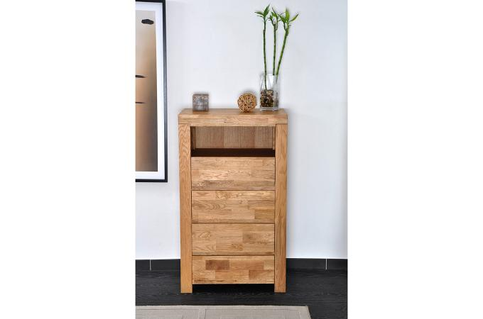 chiffonnier 4 tiroirs en ch ne massif india meuble de rangement pas cher. Black Bedroom Furniture Sets. Home Design Ideas