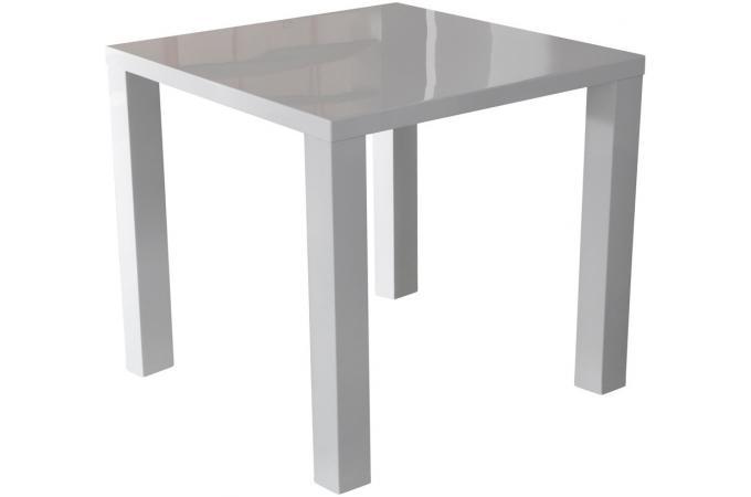 Table repas carr e blanc laqu zena table manger pas cher - Table carree blanc laque ...