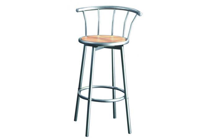 Chaise de bar argent h tre assise rotative zoe tabouret de bar pas cher - Tabouret de bar argent ...