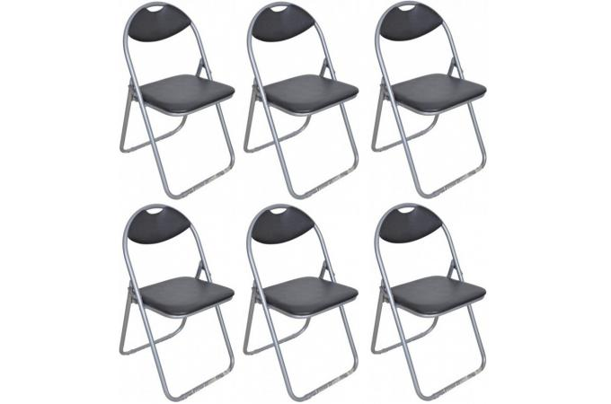 lot de 6 chaises pliantes noires ipag chaise design pas cher. Black Bedroom Furniture Sets. Home Design Ideas
