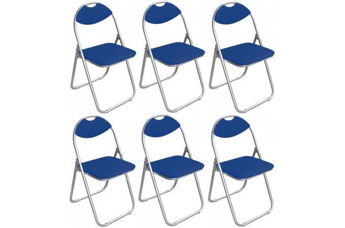 lot de 6 chaises pliantes bleues ipag chaise pliante pas cher. Black Bedroom Furniture Sets. Home Design Ideas