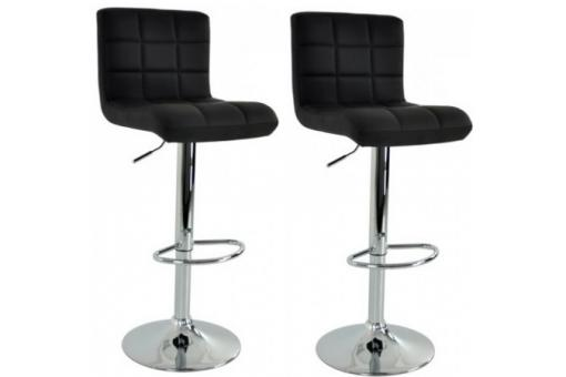 Lot de 2 Chaises de bar design capitonné noir LIVI