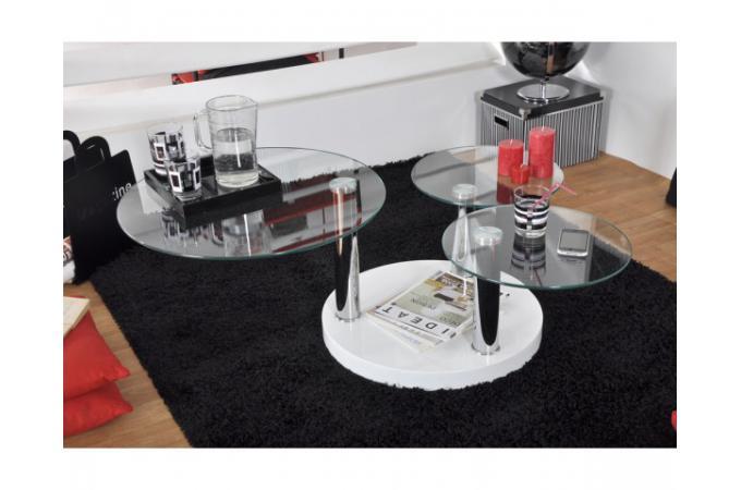 table basse 3 plateaux en verre tremp game table. Black Bedroom Furniture Sets. Home Design Ideas