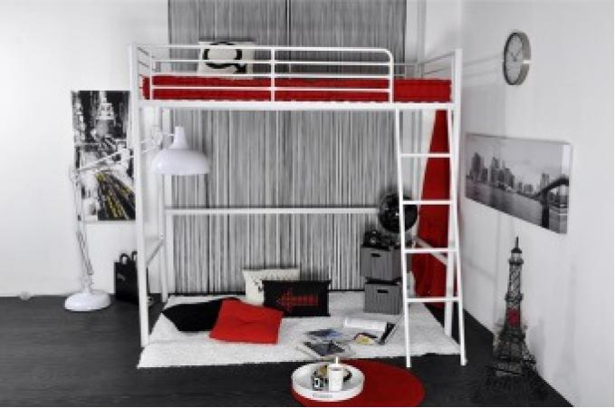 lit mezzanine en m tal blanc en 90x190 lino lit design pas cher. Black Bedroom Furniture Sets. Home Design Ideas