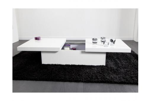 Table basse blanche 2 plateaux coulissants TRIANGE