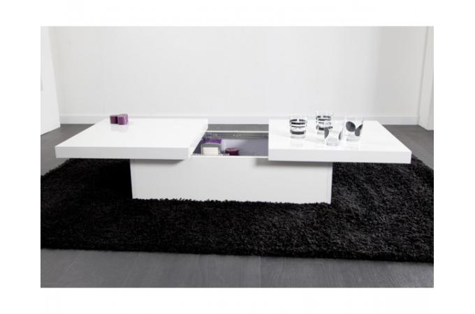 Table basse blanche 2 plateaux coulissants triange table for Table basse blanche pas cher