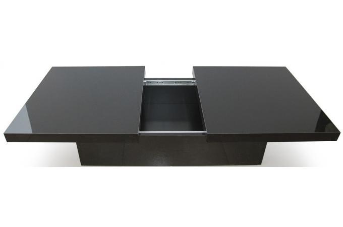 Table basse noire 2 plateaux coulissants triange table for Table basse scandinave noire pas cher